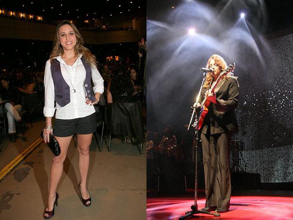 A ex-BBB Thati Bione, figura onipresente nos shows de Ana Carolina. À direita, a cantora durante a apresentação